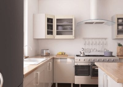 Image of a brand new grey and cream kitchen